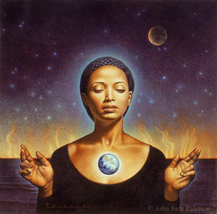 Painting by John Jude Palencar for the cover of Parable of the Sower by Octavia Butler