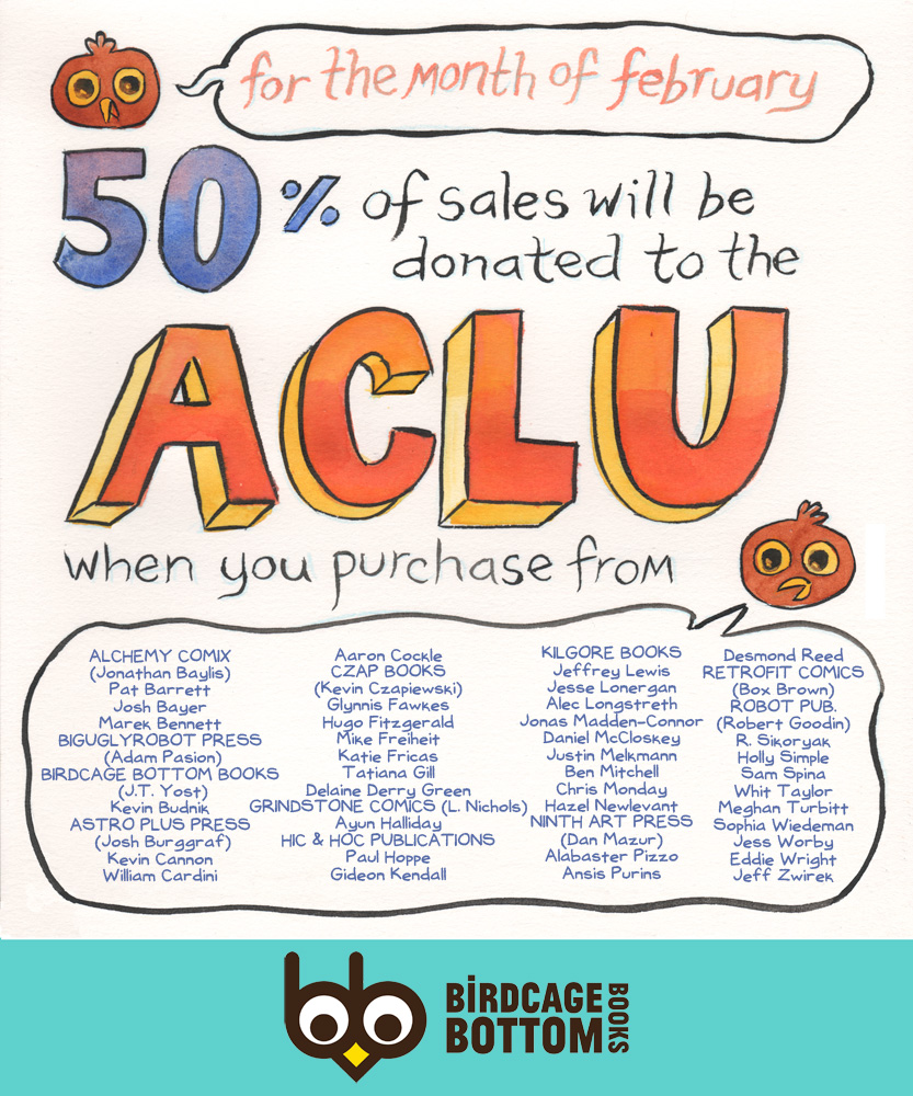 Birdcage Bottom Books ACLU donation flyer for February 2017